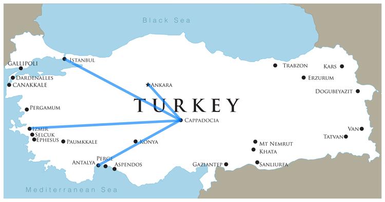 نقشه دسترسی به کاپادوکیا